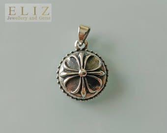 Gothic Flower .925 Sterling Silver Pendant 5.6 Grams 27mm Long