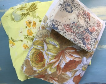 Vintage mix and match yellow and brown floral full size sheets/fabric