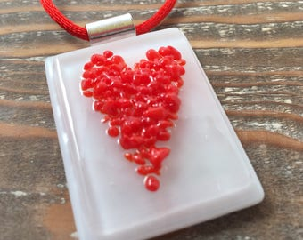 Red heart Fused Glass Pendant
