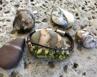 Peridot Nugget and Leather Cord Magnetic Clasp Bracelet
