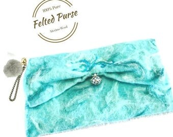 ON SALEcij 20% off Felted Wool Clutch Purse, Aqua Designer Bag. Needle Felted Purses.