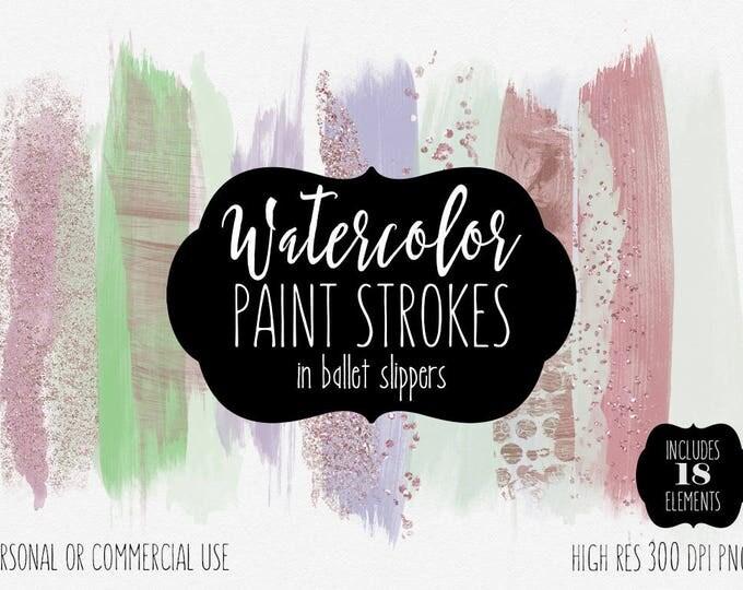 ROSE GOLD PAINT Strokes Clip Art Commercial Use Clipart Watercolor Brush Strokes Blog Header Mint Purple Confetti Watercolour Logo Graphics