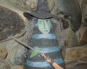 Winifred Witch with Broom Soft Sculpture Doll blue stripe