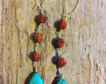 Rudraksha seed and turquoise tear drop earrings