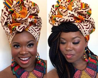 African Print Headwrap, Pre Made Tieless Head Wrap, Premade Chemo Headwrap, Stylish Turban, Ankara,  Gele Wrap, Mixed Tribal Fabric