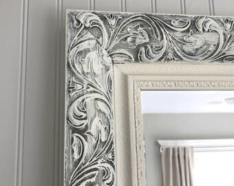Shabby Chic Mirror, Bathroom Mirror, Decorative Framed Vanity Mirror, Baroque Mirror, Wall Mirror, Ornate Mirror, Custom Colors Available