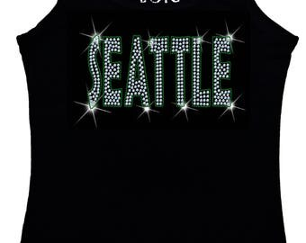 Seattle Bling Tank Top sequins glitter Shirt No Rhinestones tee