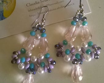 Long earrings with Crystal drops and pearls