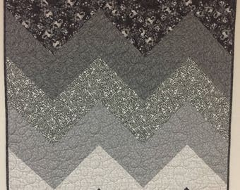 Chevron quilt in all grays for baby