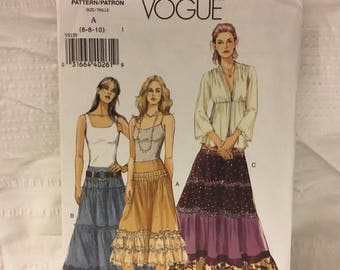 Vogue 2005 skirt pattern - V 8159 -size  (6-8-10) boho, gypsy style, western style skirt- peasant skirt and boots  get ready for spring