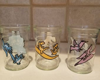 Vintage Set of 3 Welch's Jelly Dinosaur Glasses, dated 1988