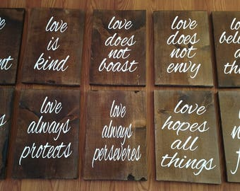 """Love is Patient Wooden Wedding Board Signs~10 Individual Signs~9.5""""x 14 ~ Wedding Signs~ Gifts~ Home~ Decor~ Wedding Decor"""