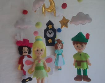 Baby crib mobile Peter Pan,Peter Pan mobile,Captain Hook mobile,Baby Disney mobile,nursery Peter Pan,Cartoon mobile