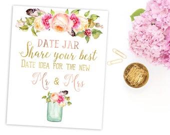 Date Night Ideas Jar Wedding Date Jar Sign Date Night Jar Wedding purple Sign Wedding Printable Wedding Advice Jar Sign Boho rustic idw106
