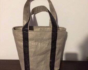 Linen bag Golden lunch bag