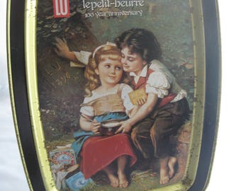 Le Petit Beurre 100th Anniversary Metal Tray / Vintage Le Petit Beurre Tin Platter / Vintage Advertising Tin Tray / Vintage Metal Ad Tray