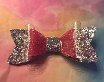 Pink Jelly bow clear sparkle corton candy chunky glitter hair bow, baby headband, sparkle bow.