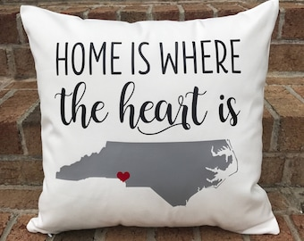 North Carolina NC Throw Pillow | Home Is Where The Heart Is | Personalized Pillow | Perfect For Housewarming Gifts, Weddings, Anniversaries