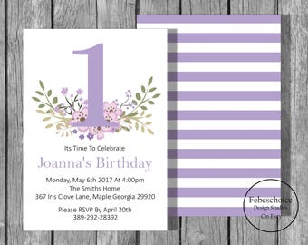 Floral First Birthday Invitations / 1st Birthday Girl Invitations / Printable Birthday Invitation / Shabby Chic Floral First Birthday Invite
