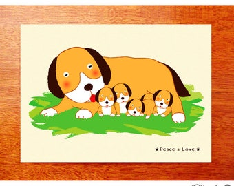 Dog Greeting Card, Puppy, Peace and Love, Dog Family, Dog Lover Card