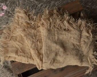 Burlap layer,rustic photo prop,UK seller,hessian blanket,neutral,vintage,newborn,sitter,burlap wrap,jute,natural