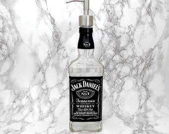 Jack Daniels Bottle Soap Pump Dispenser Large (Water Repellent Label) Upcycled Bottle