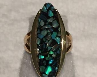 summer17 Gold-tone Mosaic Ring - CA 1950's - Size 6 - Item SB01
