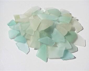 Bulk sea glass teal blue white sea glass 65 pcs medium small beach glass genuine real Azov sea glass craft jewelry making and wedding decor
