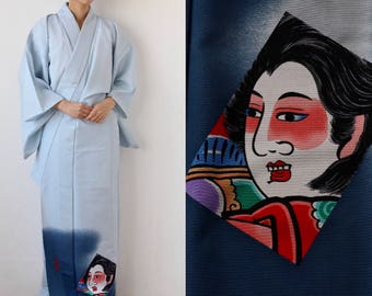 light blue kimono, vintage Kimono, Japanese kimono, Japanese cosplay, japanese traditional costume, Kabuki, fashion in Japan /1838