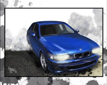 Custom Car portrait - great birthday gift for a car-loving husband or boyfriend - perfect fathers day gift