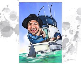 Custom Caricature - 1 person - custom art, farewell gift, retirement gift- great gift for him!