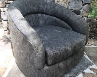 Vintage Mid Century Swivel Club Barrel Chair