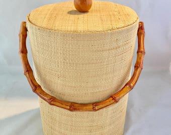 Mid Century Modern Raffia and Bamboo Ice Bucket