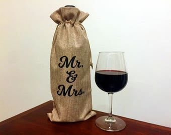 Wedding Gift Reusable Wine Gift Bag - Engagement Party Wine Tote  - Wedding Gift for Mr. and Mrs. - Bridal Shower Gift - Reusable Wine Tote