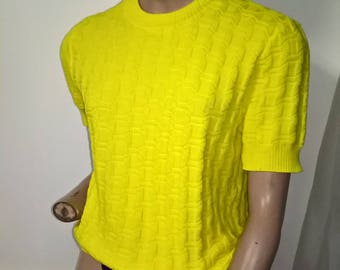 Vintage 1980s Neon Yellow Stretch Knit Short Sleeve Top size 14-16