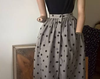 Vintage 80s Mischief skirt. Button front polka dot skirt.All cotton.Size 10