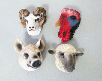 Life's Attractions 3D Resin Animal Magnet Set of 4 White Sheep Dall Sheep Turkey Pink Pig 1994