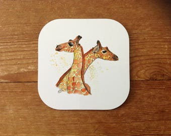 Giraffe Love Coffee Coaster | Anniversary Gift | Unique | Gifts for Girlfriend | Gifts for boyfriend | Wedding Present | Just Married