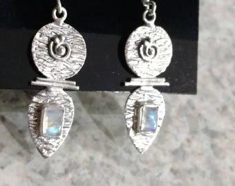 Blue Moonstone Abstract Earrings