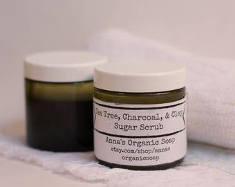 Tea Tree Charcoal & Clay Sugar Scrub, For Oily Skin