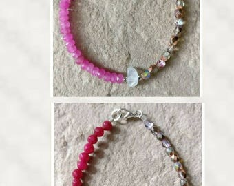 Hot pink sapphire or Ruby semi precious faceted 4mm beaded gemstone bracelet with fire polished glass 4mm beads & rainbow moonstone.