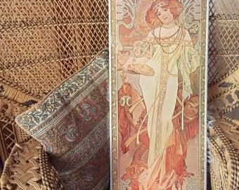 Alphonse Mucha Autumn print on board from the 1970s vintage Art Nouveau