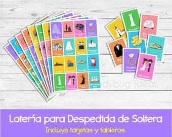 Loteria para despedida de soltera. Juego de lotería para despedida de soltera. Spanish bingo for bridal shower. Juegos para despedida