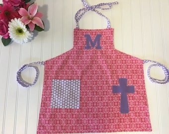 Toddler Pink Personalized Apron, Pink and Purple Apron for Girls, apron with pocket, kids personalized apron, Christian Gift for Kids, apron
