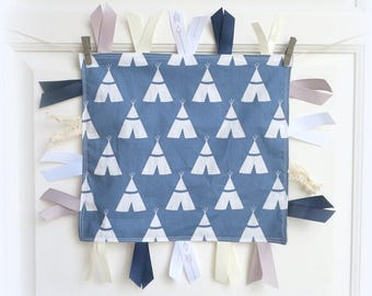 Baby tag blanket, baby boy shower gift, baby blanket, baby security blanky, taggy toy, baby toy, baby shower gift, woodland baby toy