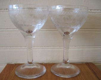 Pair of Etched Cordial/Aperitif Glasses - Item #1556