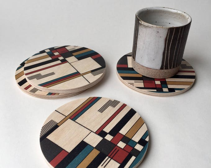 BAUHAUS set of 4 wood coasters