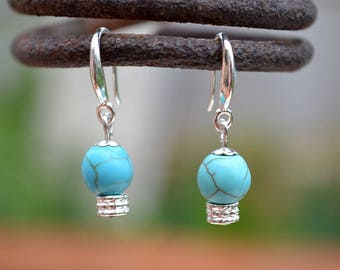Blue turquoise earrings, Turquoise drop earrings, French hook turquoise earrings, Silver earrings with turquoise, Sterling silver earrings.