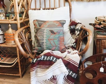 Vintage Mexican Falsa Blanket / Large Mexican Blanket / maroon Blanket / Vintage Baby Blanket