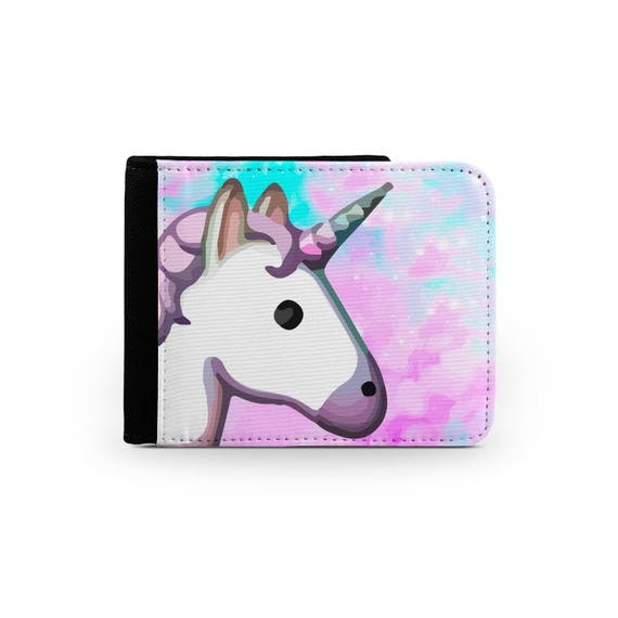 Unicorn emoji space rainbow wallet - Christmas present - Wallet for her - Printed wallet - 6P003